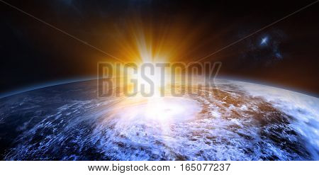 Celestial Digital Art Rising Sun Behind the Planet Stars and Galaxies in Outer Space Showing the Beauty of Space Exploration. Planet Texture furnished by NASA 3d Render 3d Illustration poster