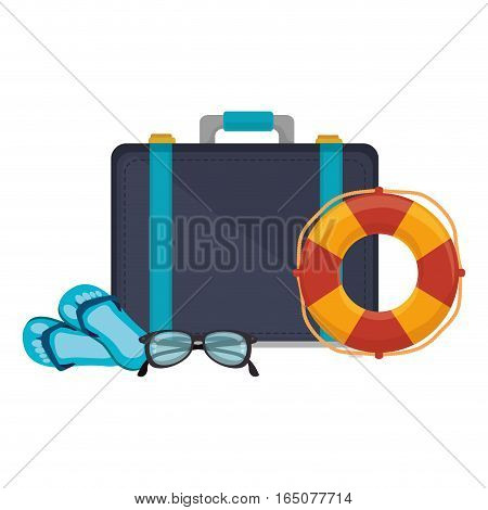 suitcase travel with float isolated icon vector illustration design