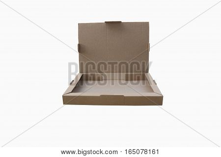 open cardboard box isolated on a white background.