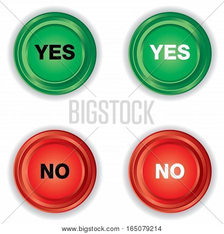 Green and Red button with YES or NO on white background.
