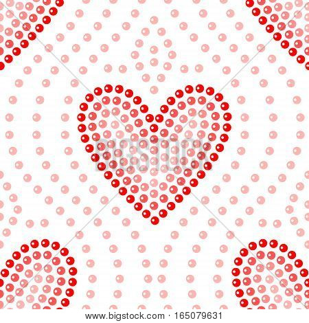 Shiny dot art red heart on white seamless pattern, vector background