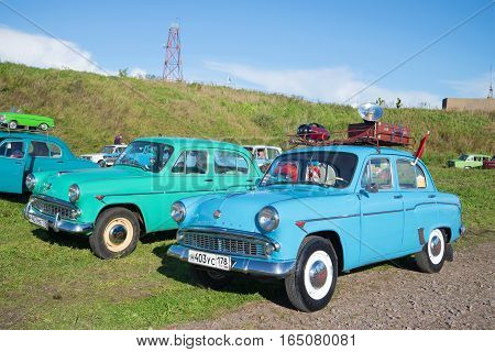 SAINT PETERSBURG, RUSSIA - SEPTEMBER 04, 2016: Two car Moskvich model 403 and 407 at the exhibition of petrotransport in Kronstadt