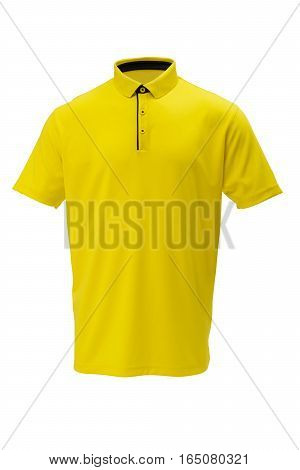 Yellow with black trim golf tee shirt for man or woman on white background