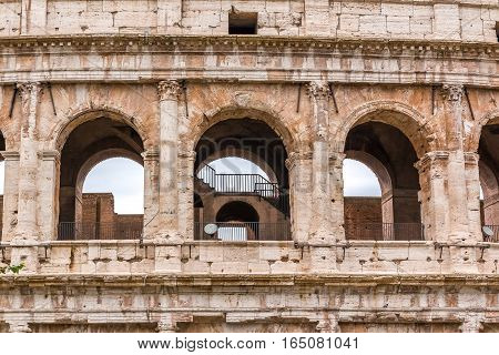 Architectural Details Of Colosseum In Rome Italy