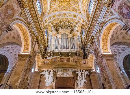 Ornate Organ Of The Church Of San Luigi Dei Francesi In Rome
