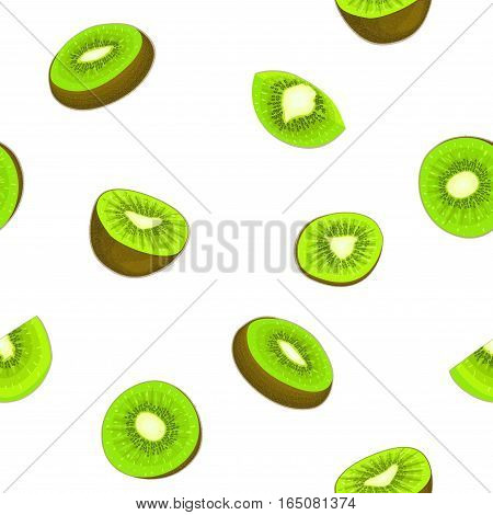 Seamless vector pattern of ripe kiwifruit. White background with delicious juicy green kiwi slice, half. Vector fresh fruit Illustration for printing on fabric textile design packaging juice breakfast