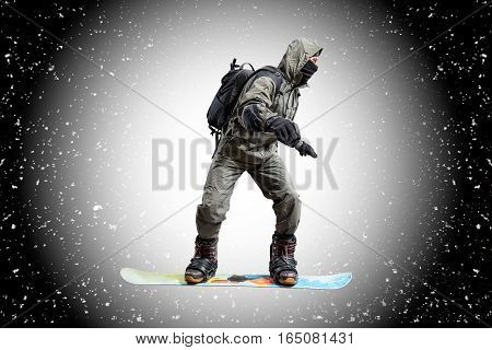 snowboarder in the air isolated on abstract snow background