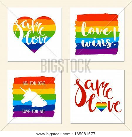 LGBT support posters with Unicorn and Heart. Rainbow colors.