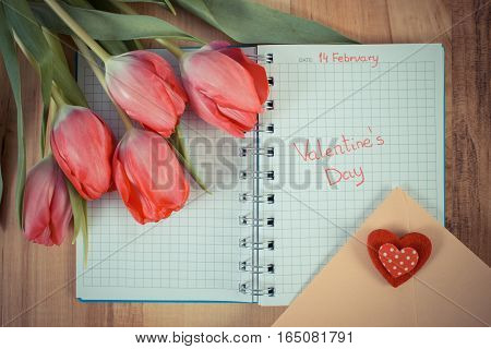 Valentines Day Written In Notebook, Fresh Tulips, Love Letter And Heart, Decoration For Valentines