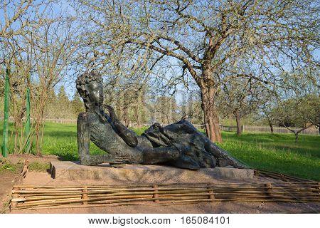 PUSHKIN HILLS, RUSSIA - MAY 08, 2016: A sculpture