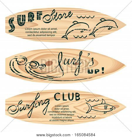 Set of surf logos for flyers, leaflets, signs on wood texture with attrition effect. Vector illustration. eps10