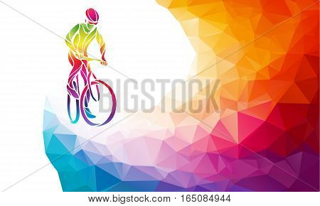 Professional cyclist involved in a bike race. Vector multicolor rainbow colors artwork. Vector illustration. Eps10