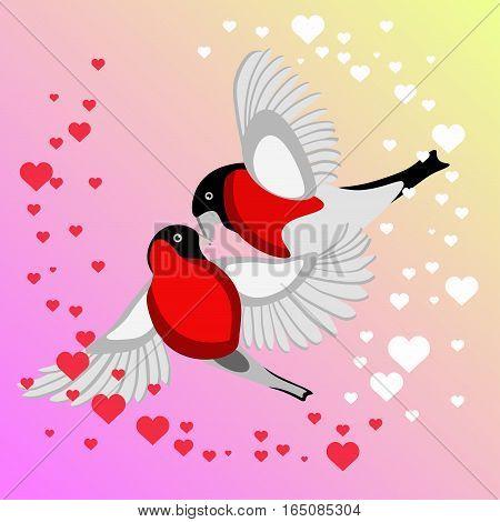 Bullfinch Birds Heart Love Couple Sitting on Twig. Birds couple in love illustration.