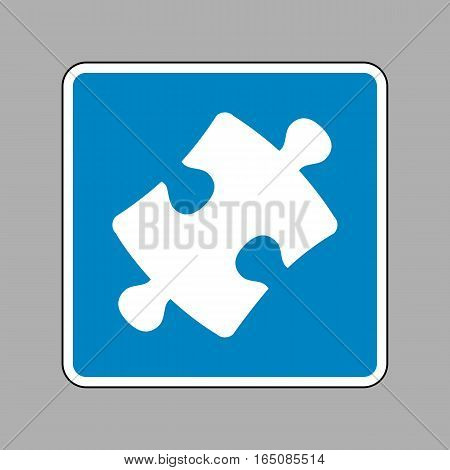 Puzzle Piece Sign. White Icon On Blue Sign As Background.