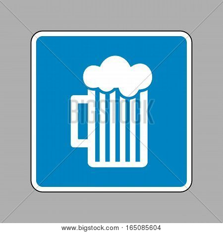 Glass Of Beer Sign. White Icon On Blue Sign As Background.