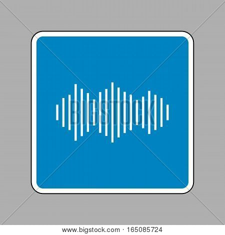 Sound Waves Icon. White Icon On Blue Sign As Background.