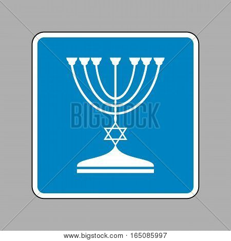 Jewish Menorah Candlestick In Black Silhouette. White Icon On Bl