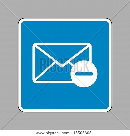 Mail Sign Illustration. White Icon On Blue Sign As Background.