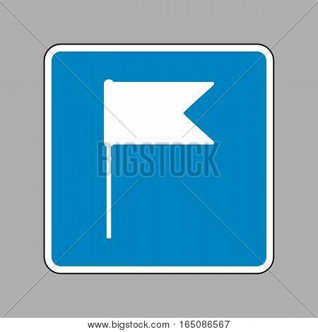 Flag Sign Illustration. White Icon On Blue Sign As Background.