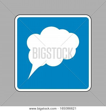 Speach Bubble Sign Illustration. White Icon On Blue Sign As Back