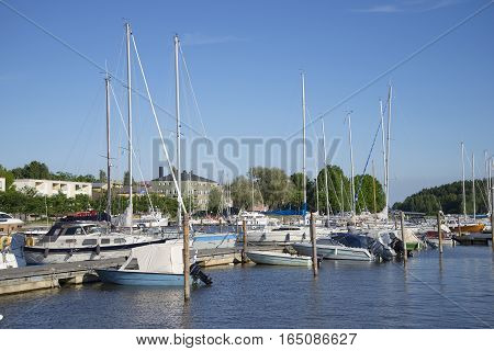 PORVOO, FINLAND - JUNE 13, 2015: Parking of small size vessels on the river in Porvoo. Finland