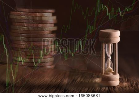 Double exposure of coin money and hourglass. finance concept.