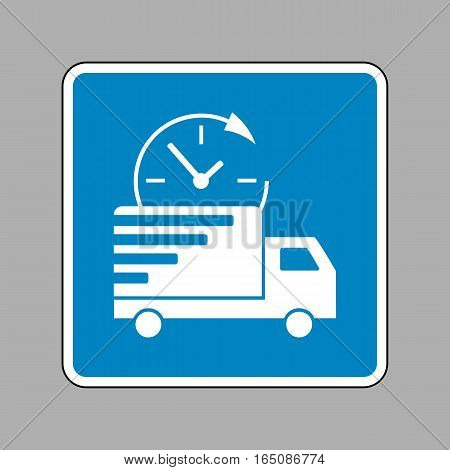 Delivery Sign Illustration. White Icon On Blue Sign As Backgroun