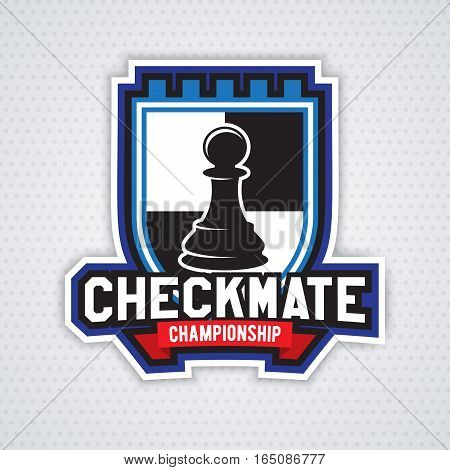 Chess template for club or school. Design for decoration tournaments, sports cups, logos business cards or events