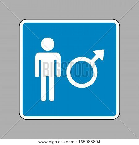 Male Sign Illustration. White Icon On Blue Sign As Background.