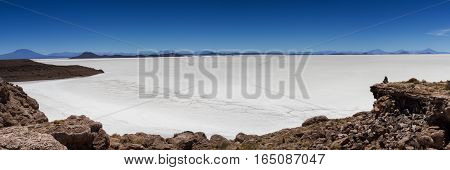 Viewpoint over salt lake Uyuni as seen from Isla Pia Pia Bolivia