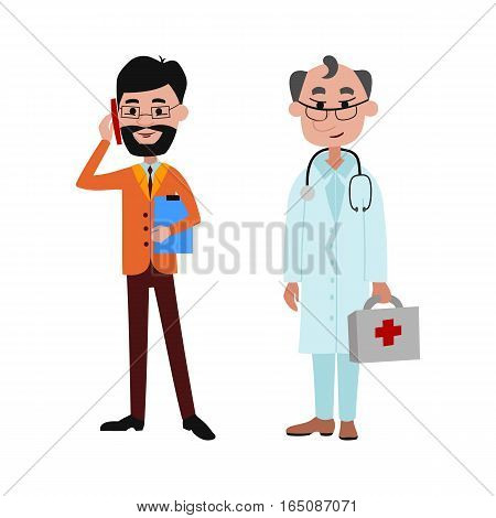 People businessman and doctor different professions vector illustration. Success teamwork diversity human work lifestyle. Standing successful young person character in uniform.