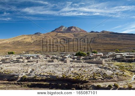 Village of Tahua in front of the Tunupa volcano Altiplano Bolivia