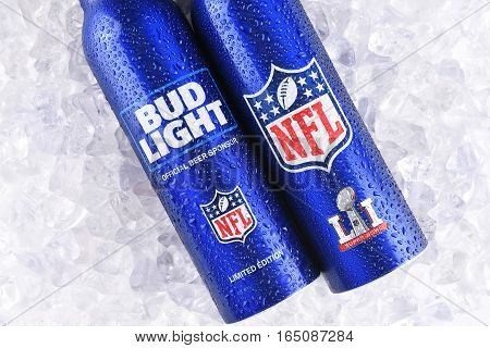 IRVINE CALIFORNIA - JANUARY 13 2017: Bud Light Aluminum Bottles in ice. The resealable bottles feature the NFL and Super Bowl LI logos.