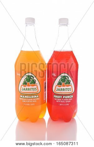 IRVINE CALIFORNIA - JANUARY 13 2017: Jarritos Fruit Punch and Mandarina drinks. Jarritos is made in fruit flavors and is more carbonated than popular soft drinks made in the USA.