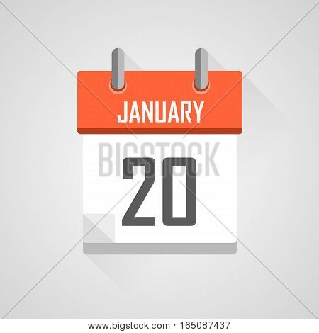 January 20, calendar date month icon with flat design on grey background