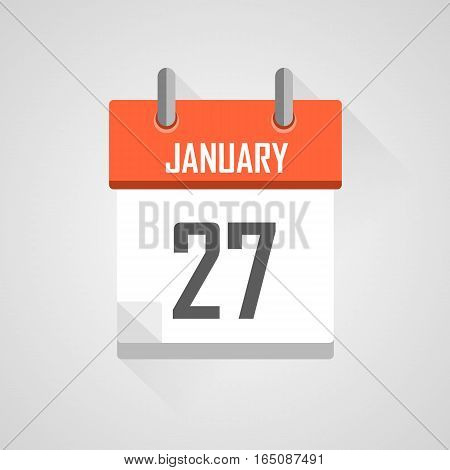 January 27, calendar date month icon with flat design on grey background