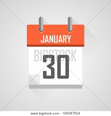 January 30, calendar date month icon with flat design on grey background