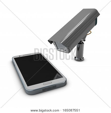3D Illustration Of Cctv And Mobile Application On Smartphone, Protection Phone Concept
