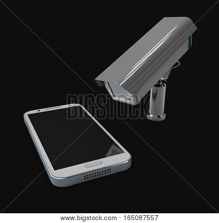 3D Illustration Of Cctv And Mobile Application On Smartphone, Protection Phone Concept Isolated Blac