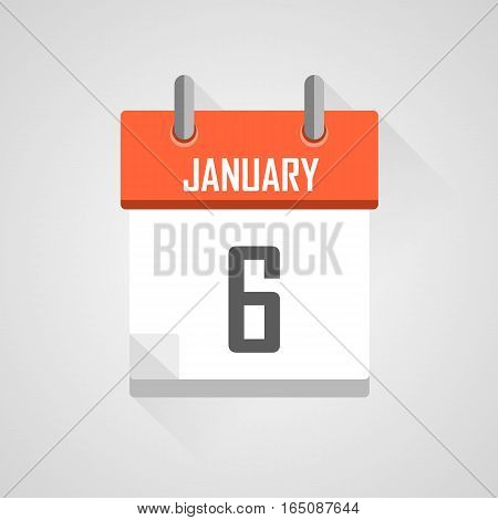 January 6, calendar date month icon with flat design on grey background