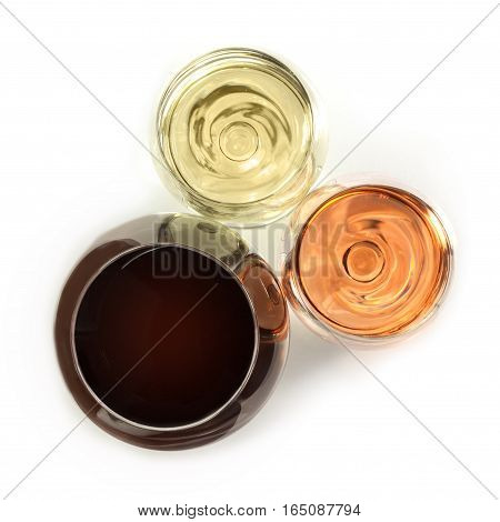 An overhead photo of three glasses of wine: white, rose, and red, on white background. Selective focus