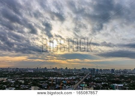 Sky As A Background Wallpaper,  With City Scape