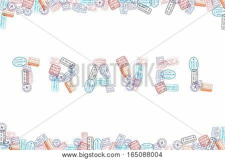 Immigration rubber stamp imprints arranged in word travel on white