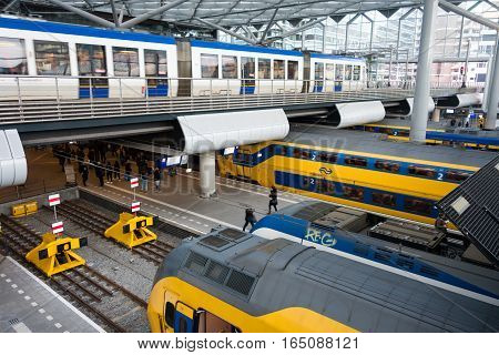 The Hague the Netherlands- December 26 2016: The Hague Central Station