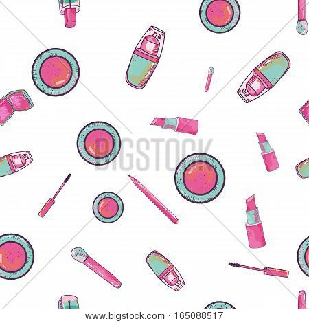Colorful seamless pattern with cosmetics items. Hand drawn style. Vector illustration.