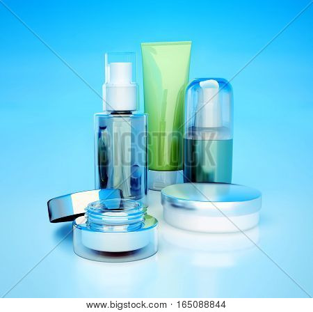 Set of cosmetic creams. Daily beauty care cosmetic. Face cream eye cream serum and lip balm. 3D illustration