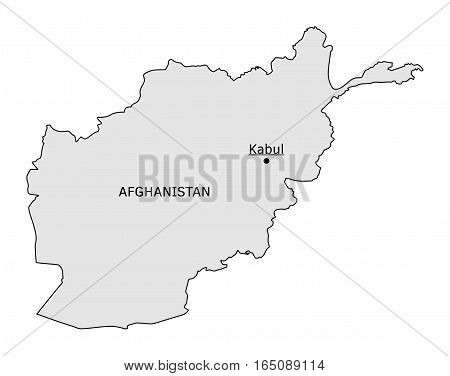 Afghanistan silhouette map with Kabul capital isolated on white
