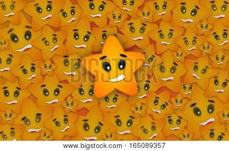 Seamless Star Background Design Concept with Happy Smiley Star