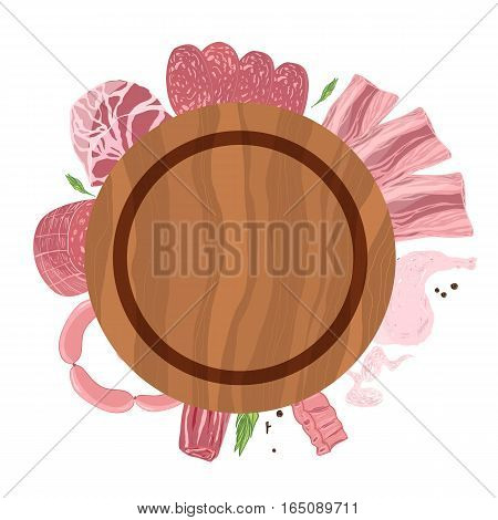Meat plate top view with sausage, chicken leg and wings, ham on wooden background