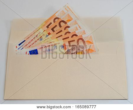 Abstract composition - a lot of money in the envelope for buying anything you want